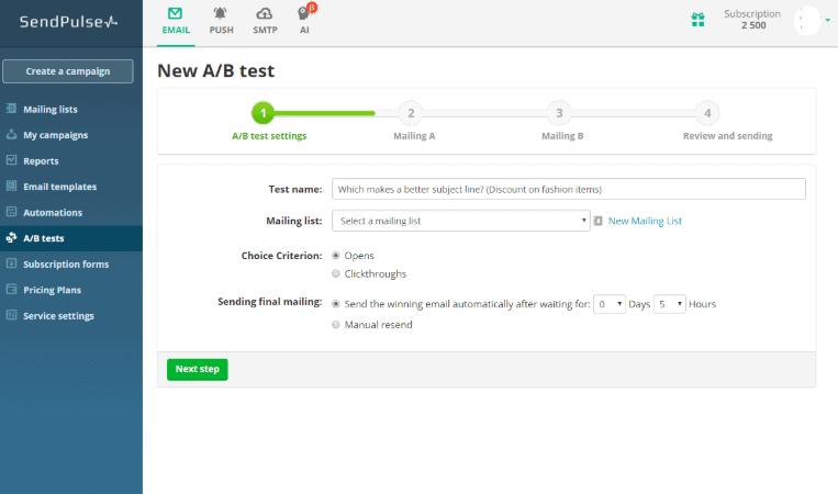 sendpulse-review-ab-testing
