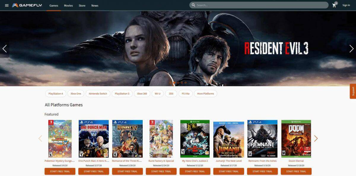 Gamefly-Homepage